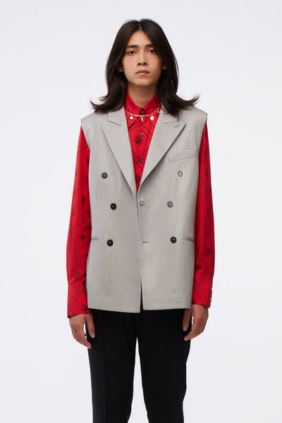 Ernest W. Baker - Sleeveless Double Breasted Blazer Silver