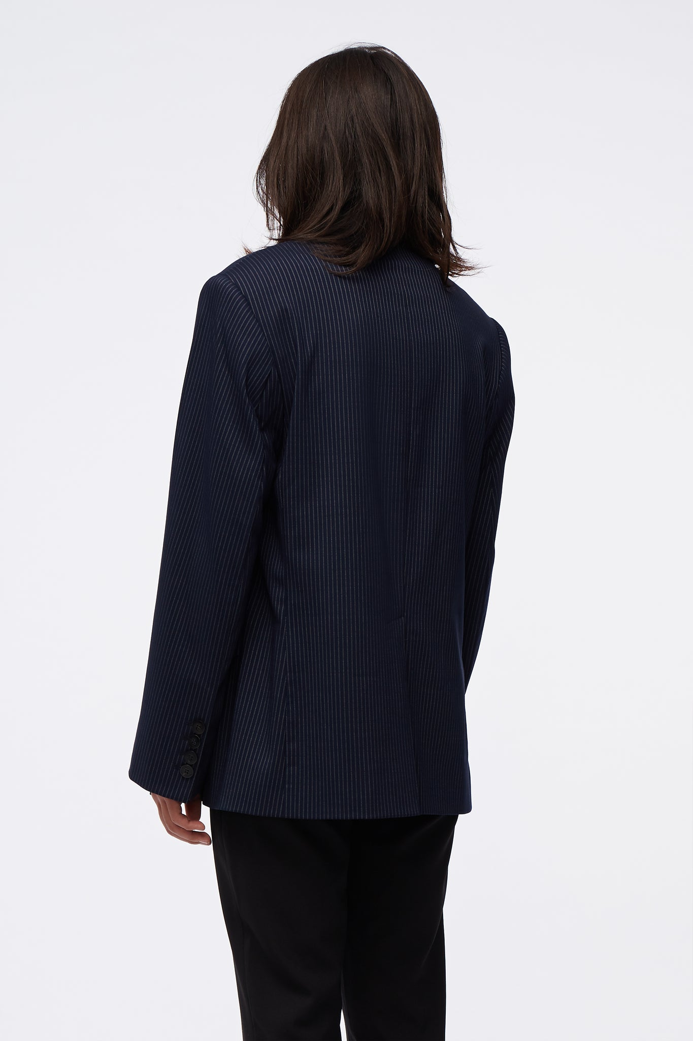 Double Breasted Blazer Navy Pin Stripe