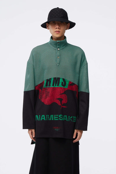 NAMESAKE - Husk Mix Media Turtleneck Shirt Black/Jade