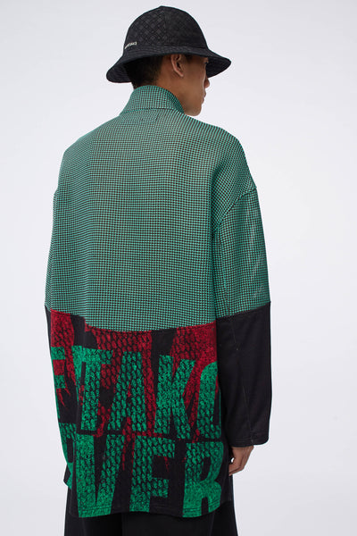 Husk Mix Media Turtleneck Shirt Black/Jade