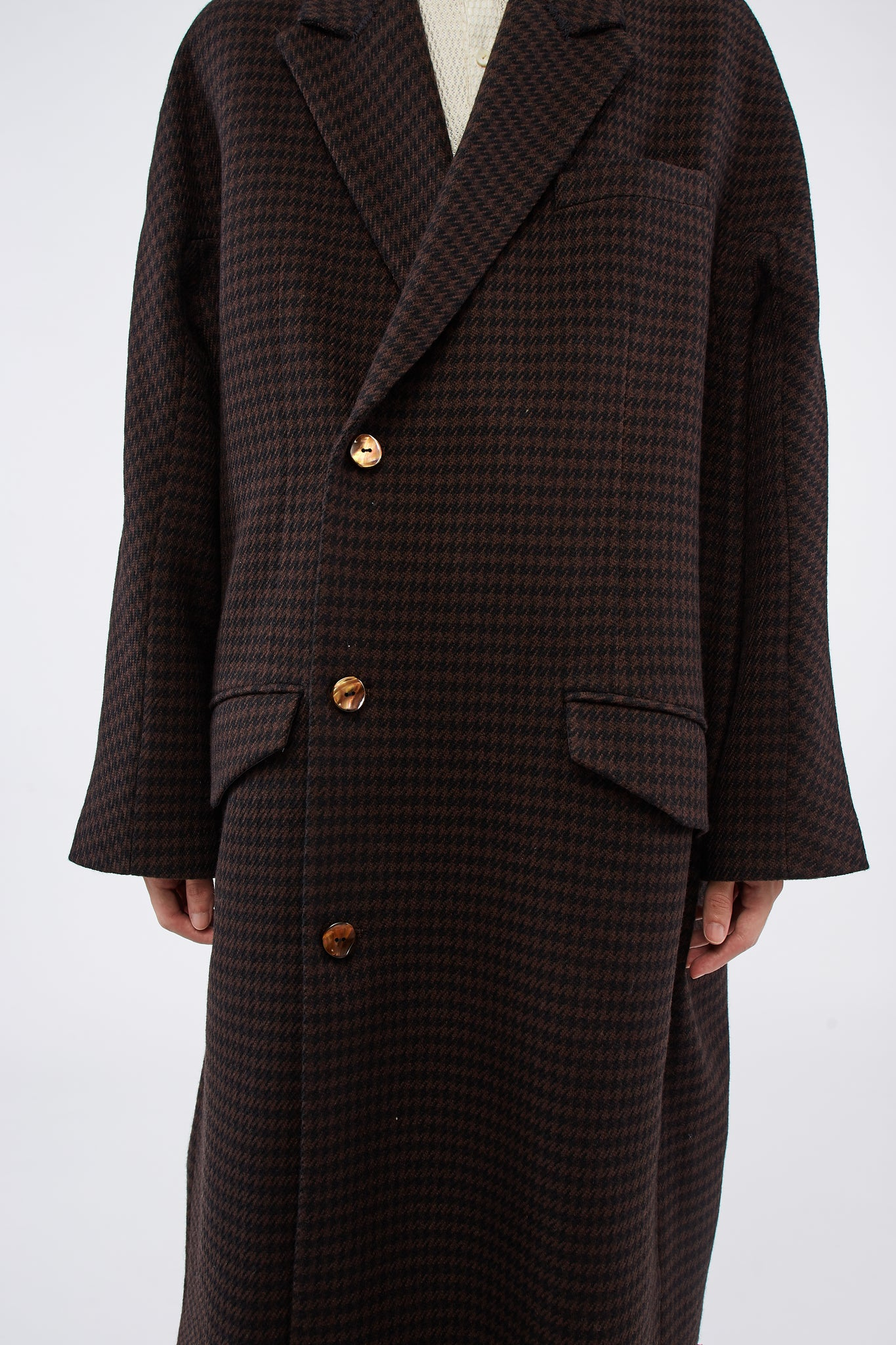 Dominic Double Breast Coat Brown Houndstooth