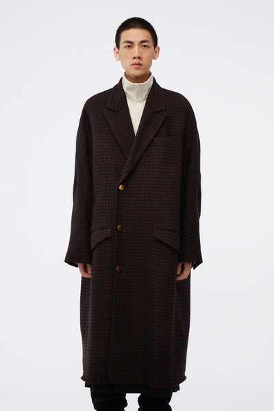 NAMESAKE - Dominic Double Breast Coat Brown Houndstooth