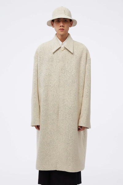 NAMESAKE - Corbis Oversized Mac Coat Weaved Pearl White