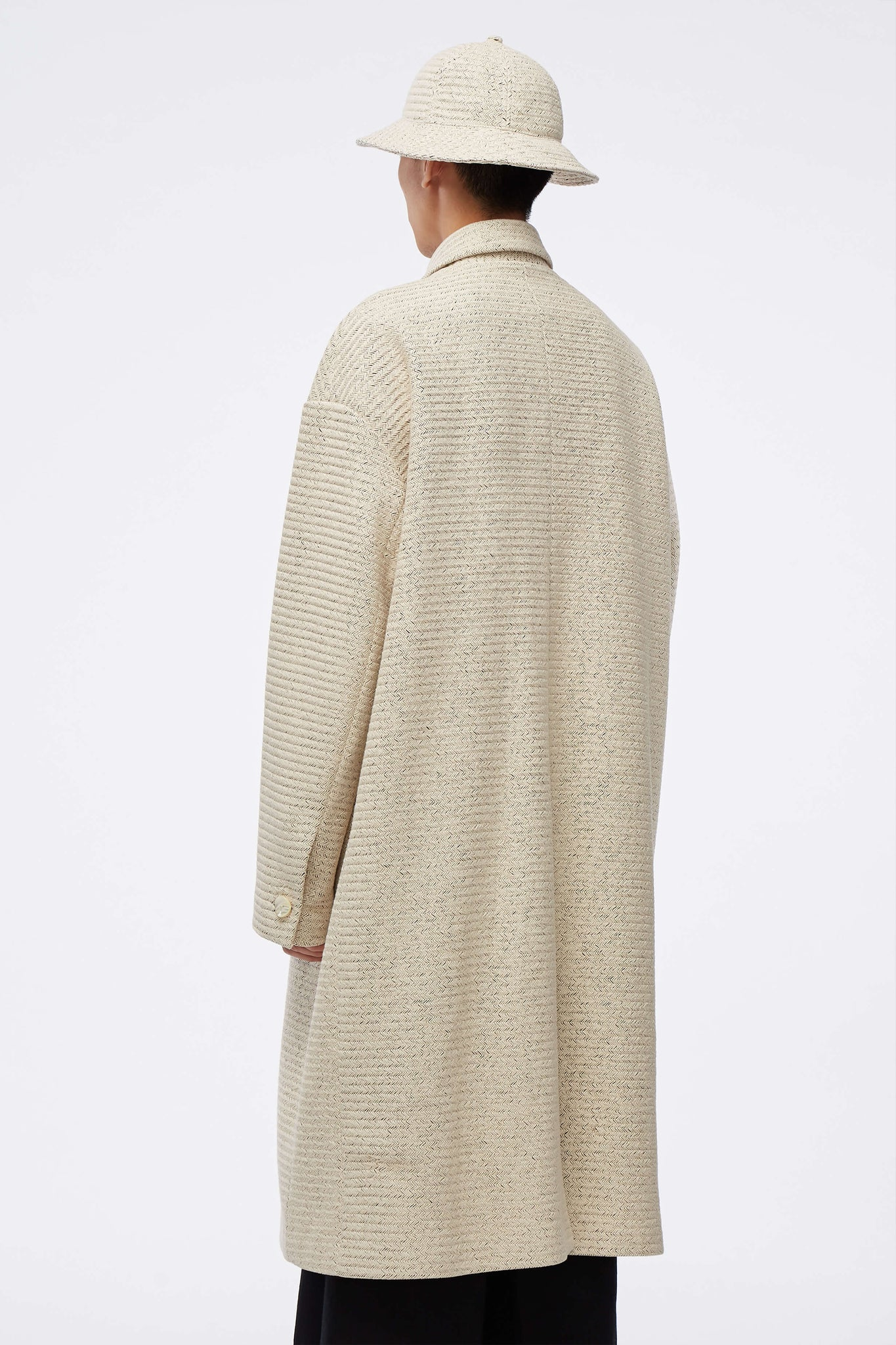 Corbis Oversized Mac Coat Weaved Pearl White