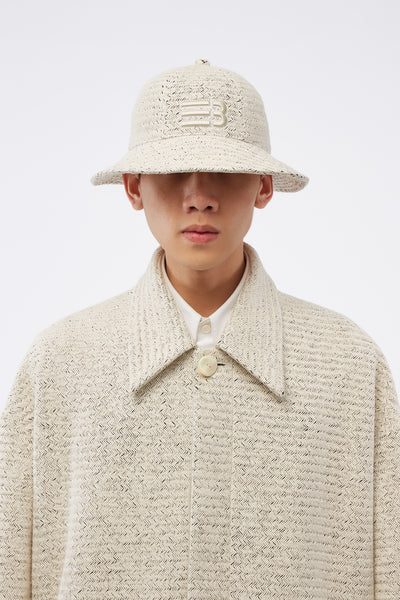 NAMESAKE - Strike Bucket Hat Weaved Pearl White