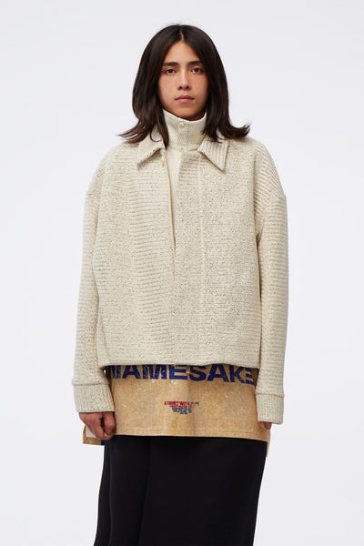 NAMESAKE - Monica Short Blouson Weaved Pearl White