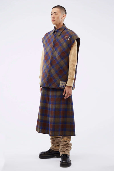 Hampton Sleeveless Padded Shirt B/eb Jacquard Plaid