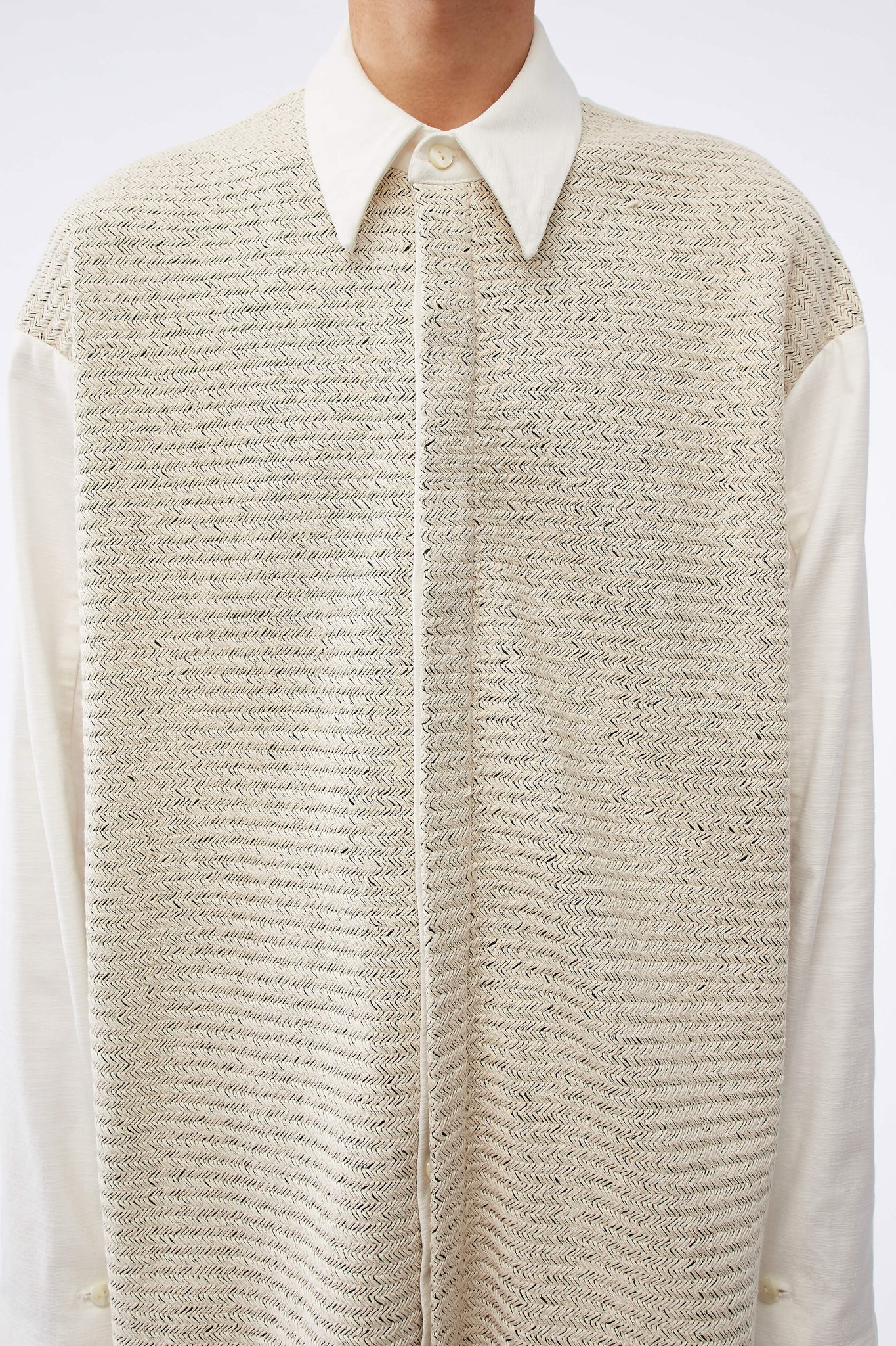 Lincoln Mix Media Oversized Shirt Weaved Pearl White