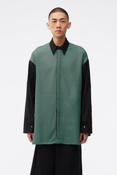 NAMESAKE - Lincoln Mix Media Oversized Shirt Weaved Brown / Jade Grid