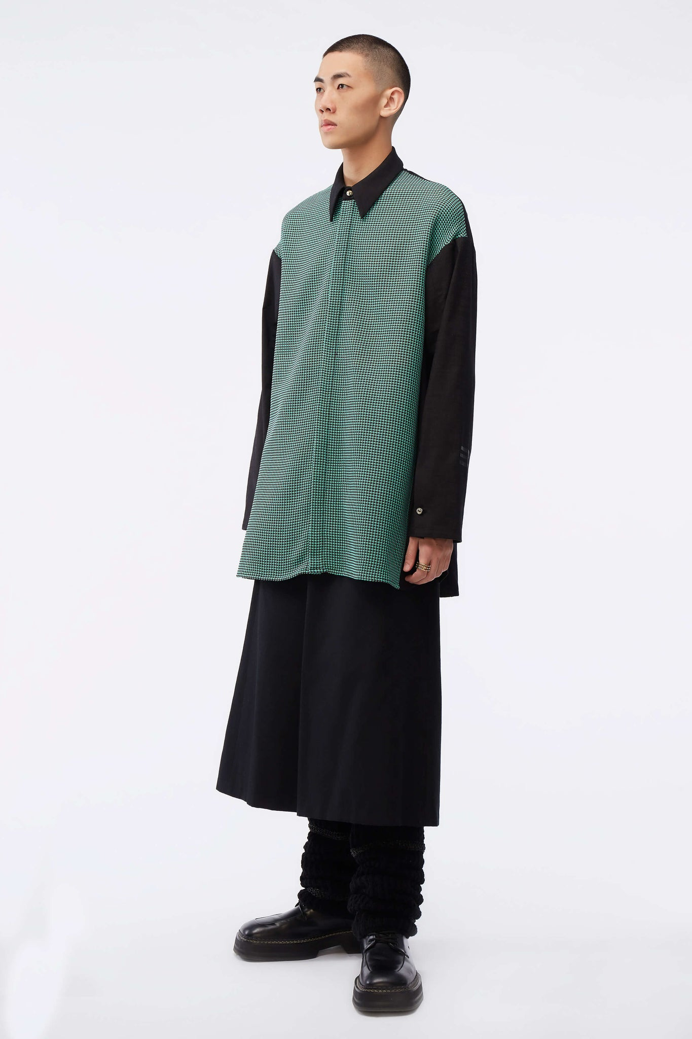 Lincoln Mix Media Oversized Shirt Weaved Brown / Jade Grid