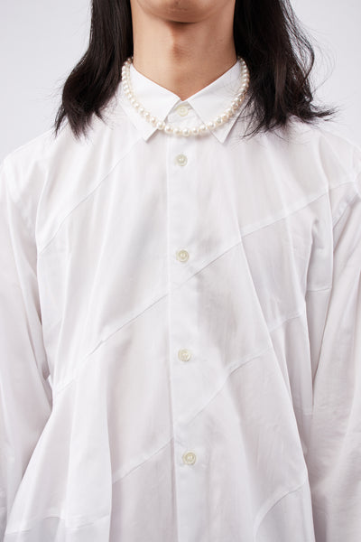 White Spiral Seam Shirt