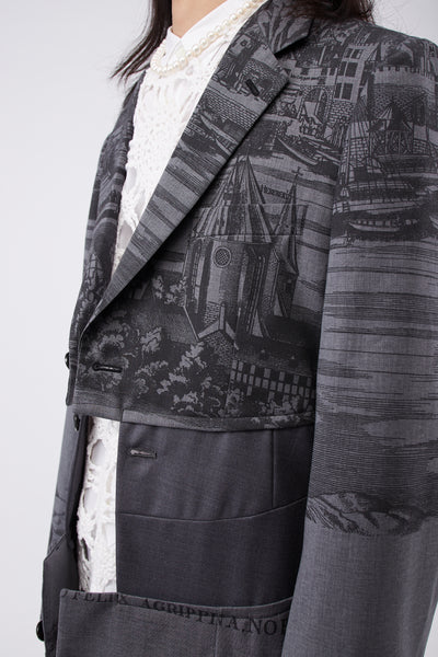 Painting-print Split Blazer Grey