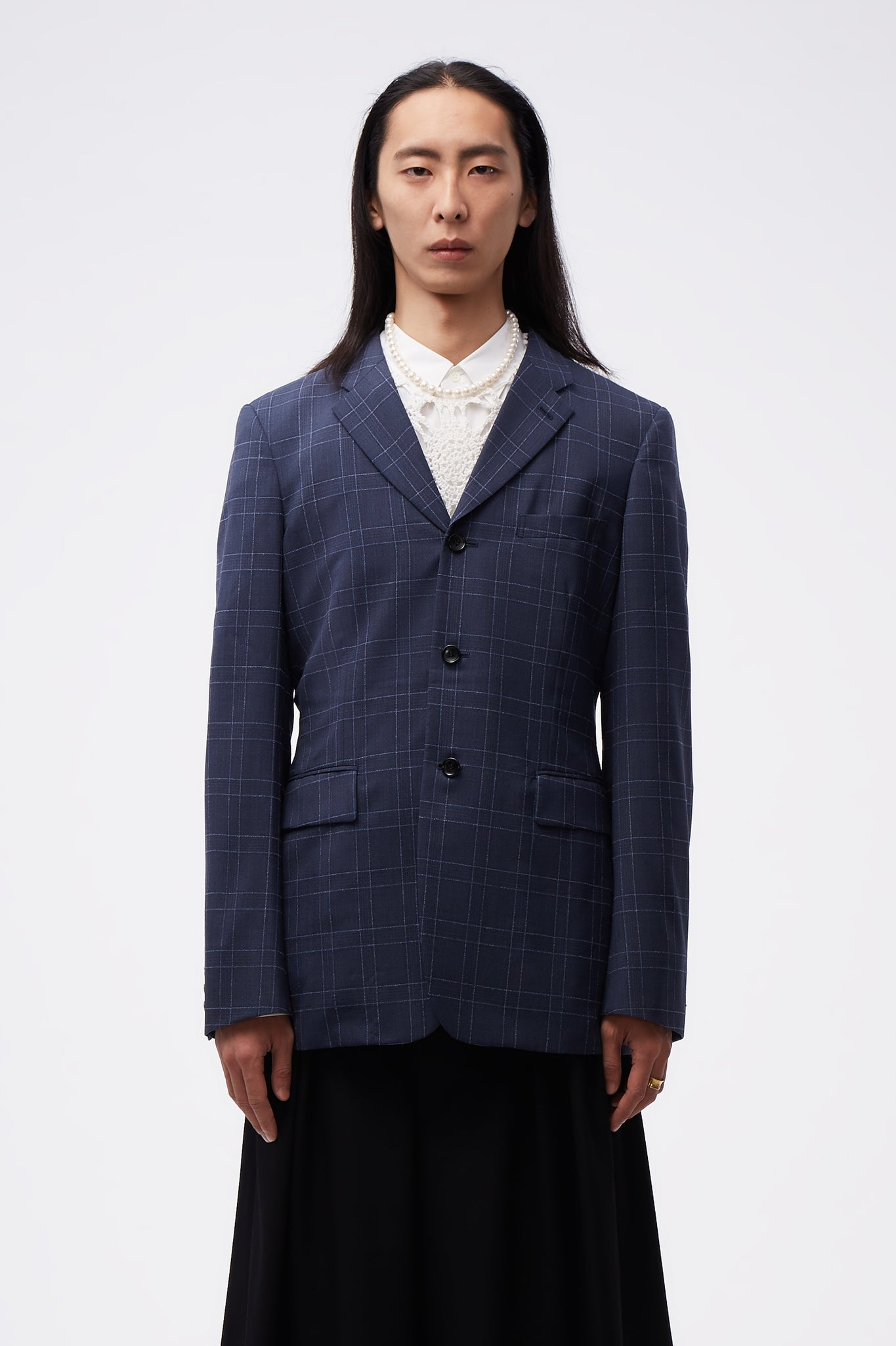 Back Pleats Blue Grid Suit Blue