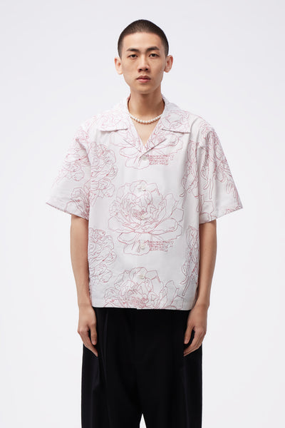 Act Of Desire - Bali Cuban Collar SS Shirt Angel White + Red flower embroidery