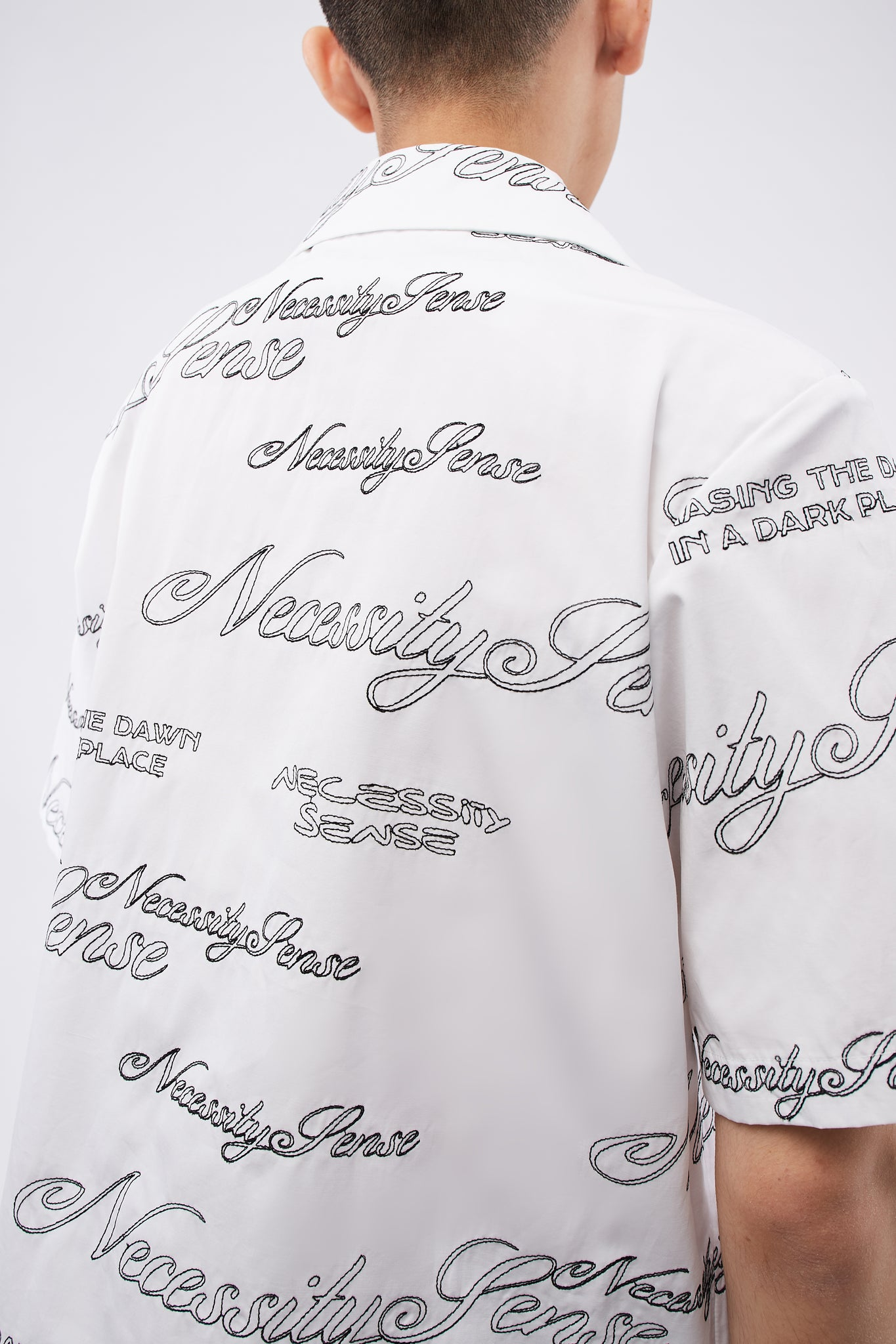 Bali Cuban Collar SS Shirt Angel White + Black logo embroidery