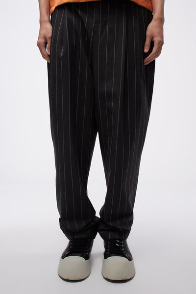 Act Of Desire - Dan Wide Leg Carrot Trouser Concrete Grey Stripe