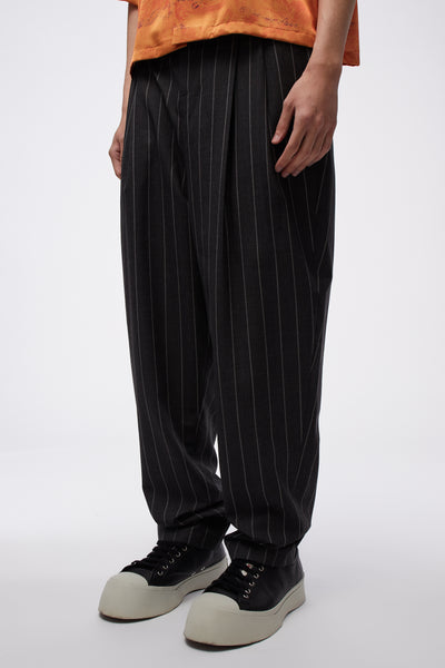 Dan Wide Leg Carrot Trouser Concrete Grey Stripe