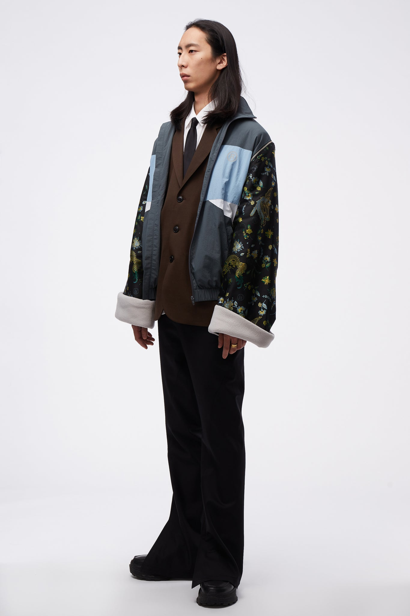 Track Jacket W/ Jacquard Sleeves Grey