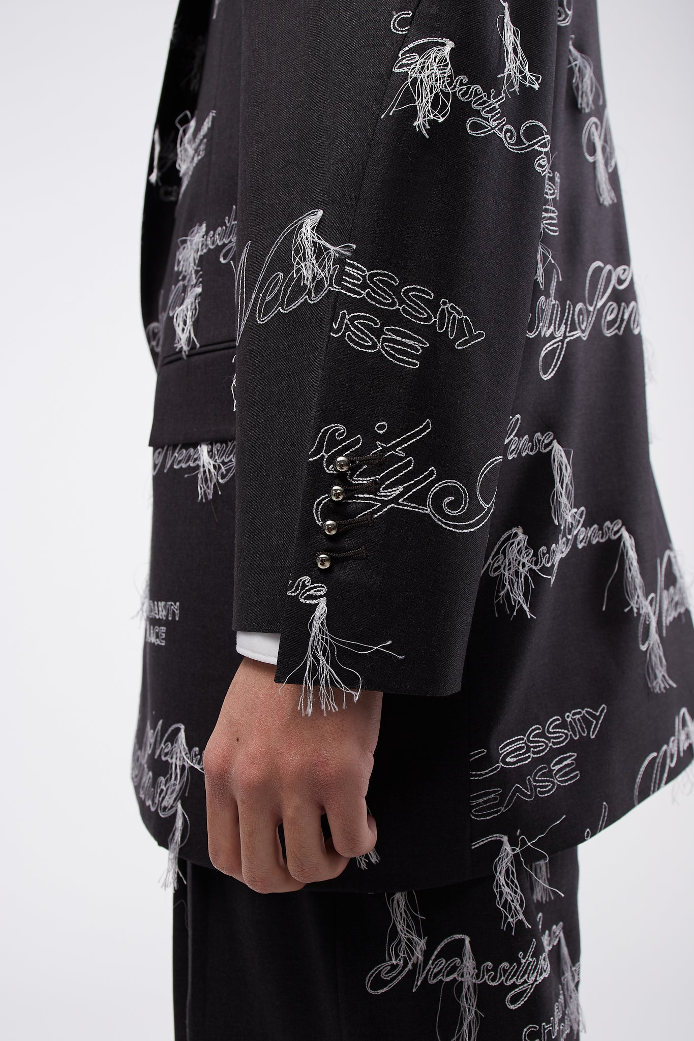 Sam Oversized Single Breast Suit Concrete Grey White Embroidery