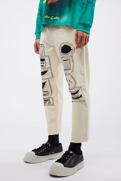 Darts Pant Broken Calico White