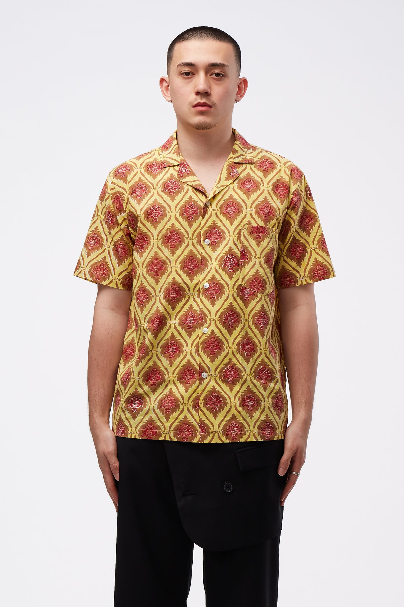 Sawsanas Button Up Short Sleeve Shirt Yellow Brown