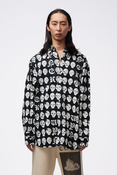 Vyner Articles - Oversize Shirt With Print & Treatment Salmiakki Print BK/WH