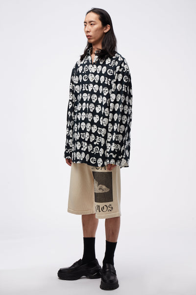 Oversize Shirt With Print & Treatment Salmiakki Print BK/WH