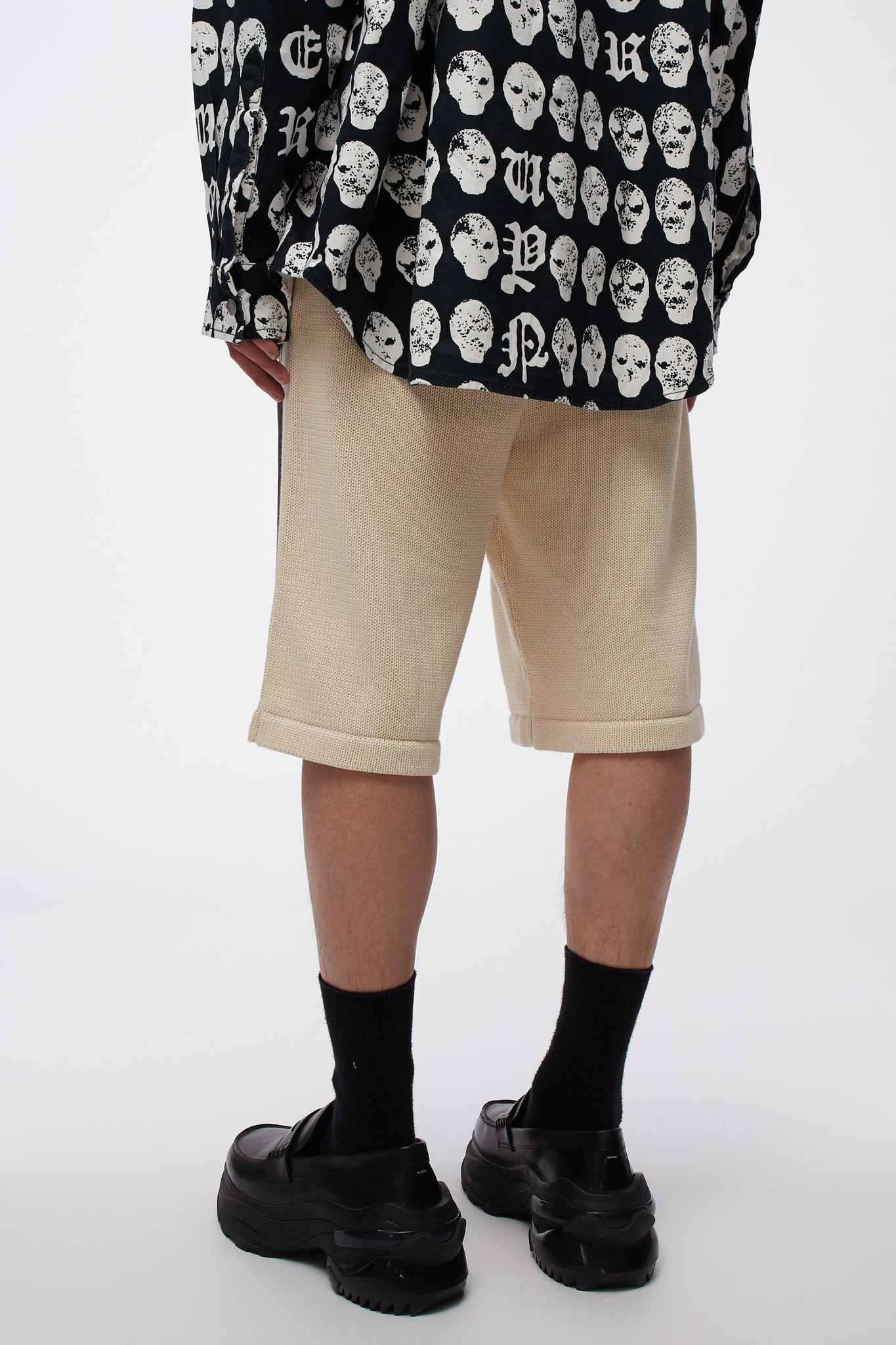 Knit Shorts With Total Chaos Print White