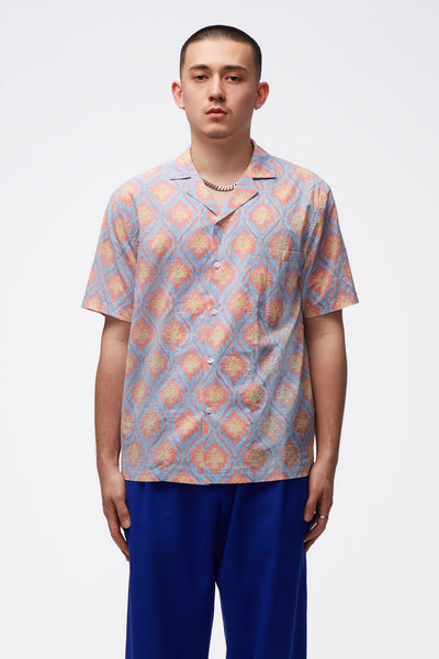 Adish - Sawsanas Button Up Short Sleeve Shirt Blue pink