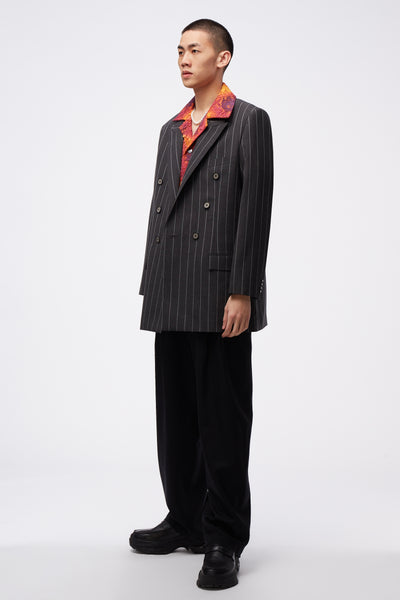 Kin Peak Lapel Suit Concrete Grey Stripes