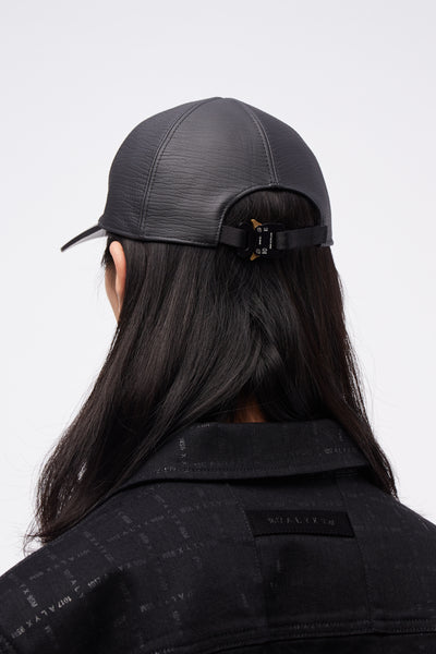 Classic Hat In Leather W/ Buckle Black