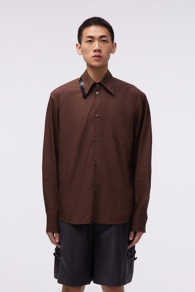 NAMACHEKO - Shirt With Embroidery Chestnut Brown