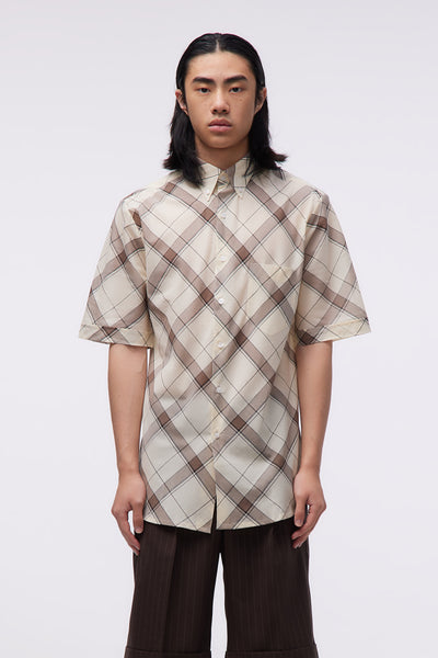Ernest W. Baker - Short Sleeve Shirt Beige&brown Check