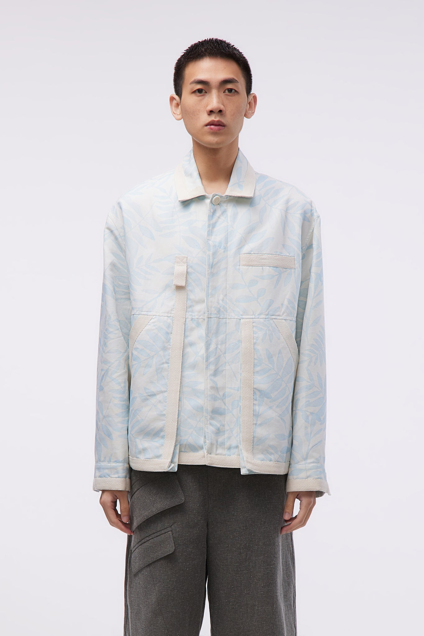 Le Blouson Grain Print Blue Leaves