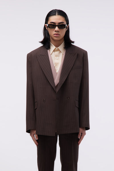 Ernest W. Baker - Double Breasted Blazer Brown Pin Stripe