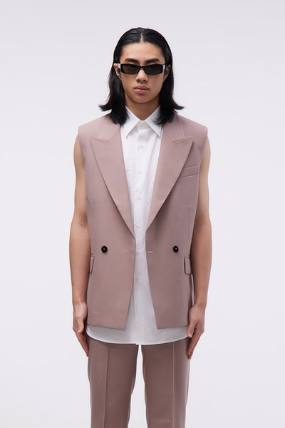 Ernest W. Baker - Sleveless Double Breasted Blazer Dusty Pink