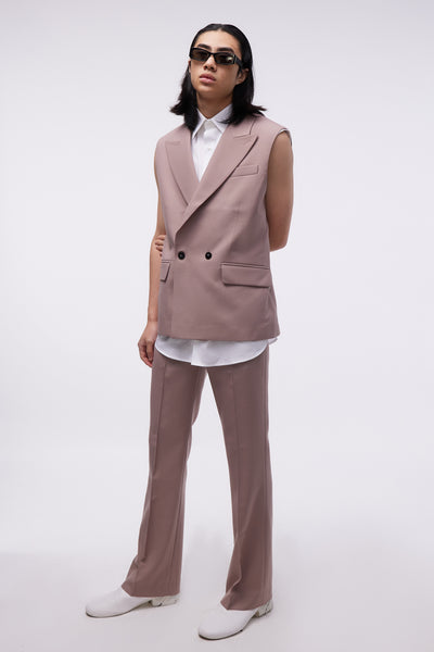 Sleveless Double Breasted Blazer Dusty Pink
