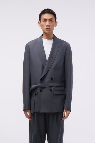 Lemaire - Belted DB Jacket Iron Grey