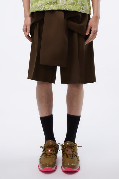 CMMN SWDN - Tye Shorts Tailored Front Tie Detail Brown