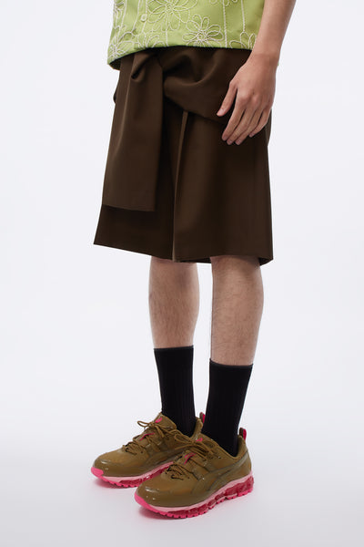 Tye Shorts Tailored Front Tie Detail Brown