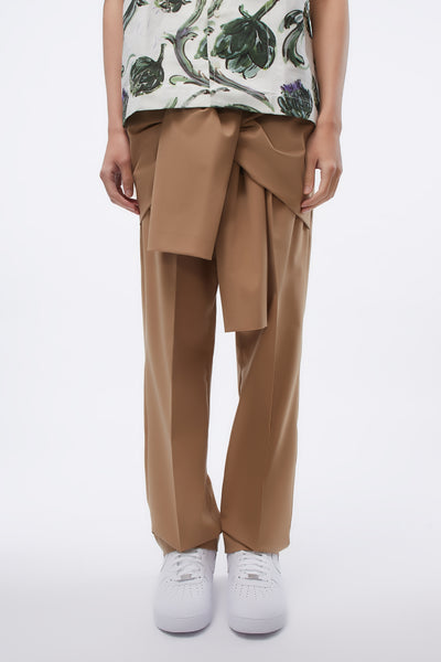 CMMN SWDN - Tye Tailored Trousers Front Tie Detail Sand