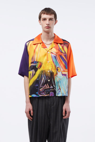 Act Of Desire - Vacay Cropped Loose Shirt Psychadelic Oil Painting Orange
