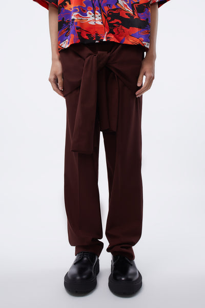 CMMN SWDN - Tye Tailored Trousers Front Tie Detail Burgundy