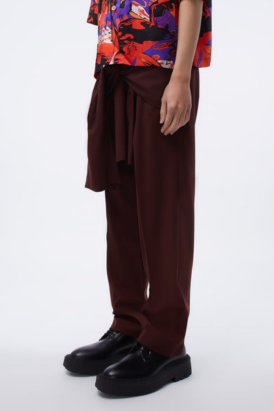 Tye Tailored Trousers Front Tie Detail Burgundy