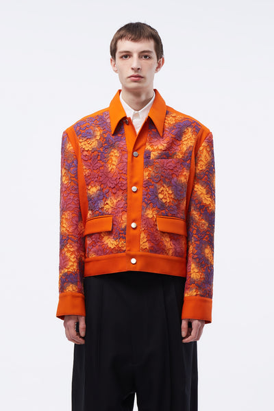 Act Of Desire - Nicholas Panelled Jacket Tiger Orange + Hand Painted Lace