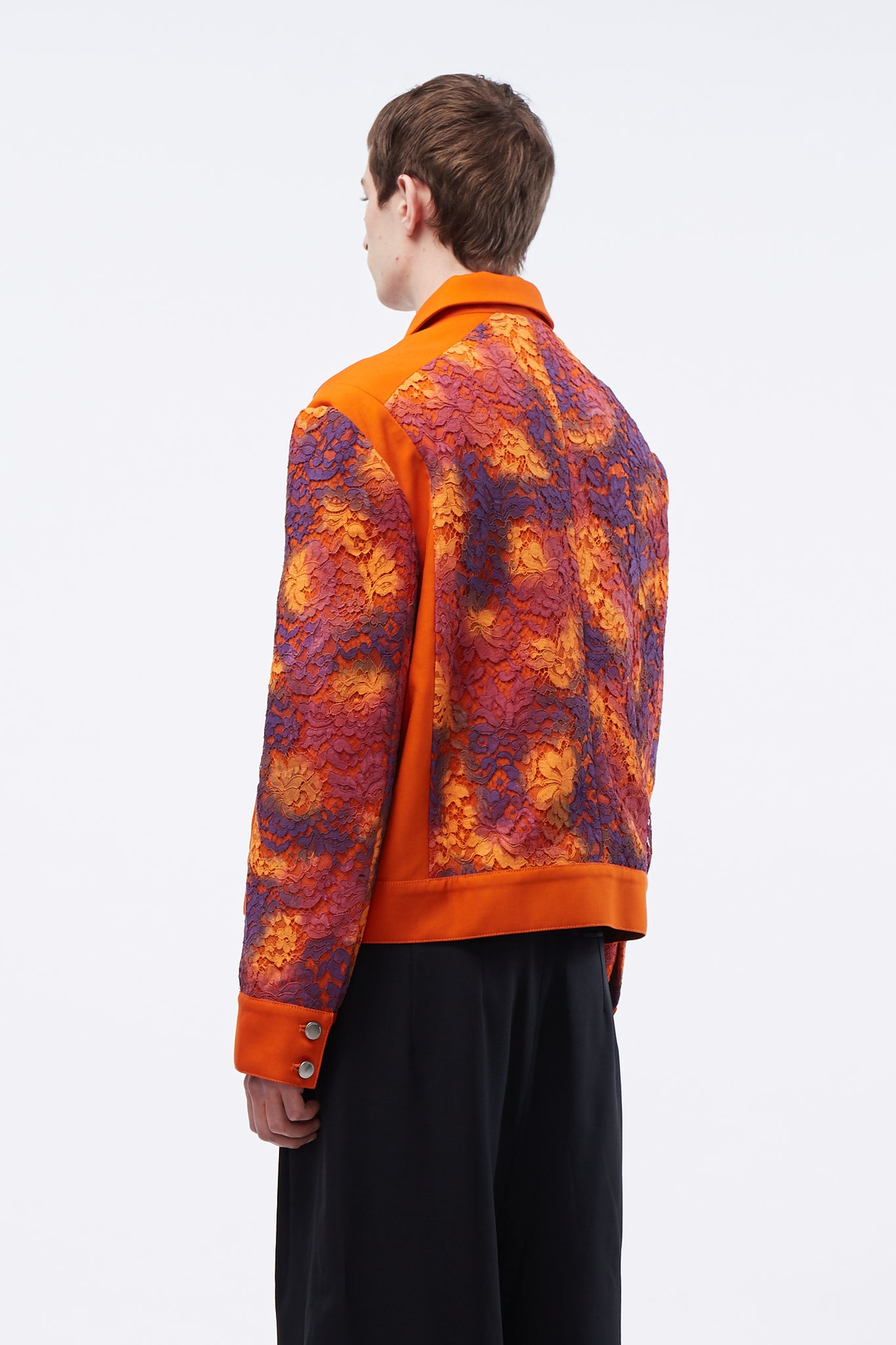 Nicholas Panelled Jacket Tiger Orange + Hand Painted Lace