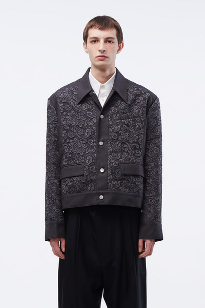 Act Of Desire - Nicholas Paneled Jacket Concrete Grey Lace