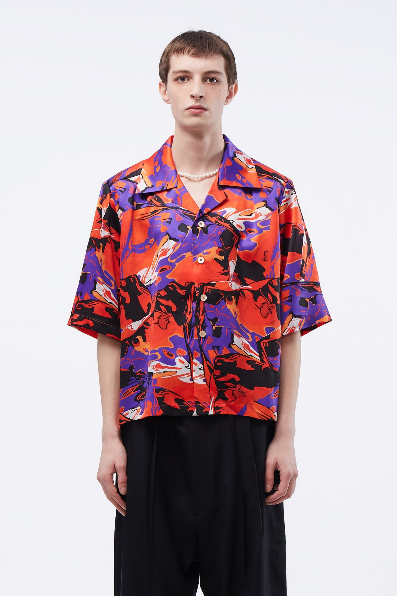 Vacay Cropped Loose Shirt Psychadelic Ice Pattern