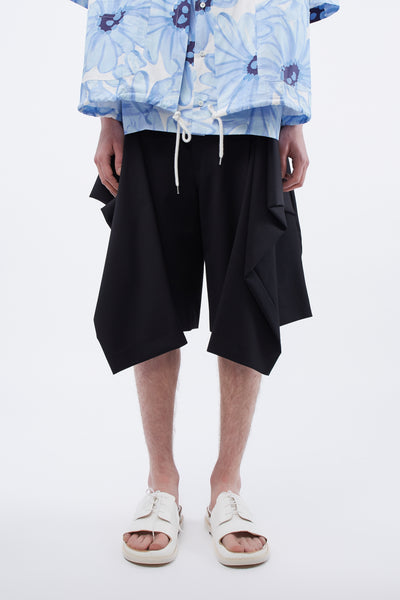 CMMN SWDN - Tye Shorts Tailored Front Tie Detail Black