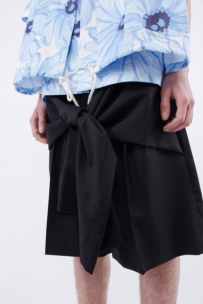 Tye Shorts Tailored Front Tie Detail Black